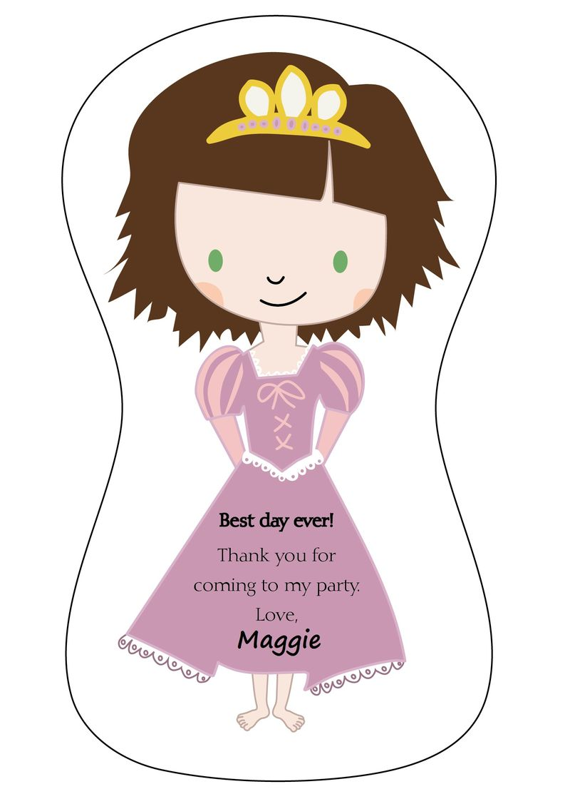 Tangled rapunzel birthday thank you printable Crystal Wilson 5x7